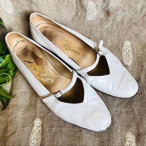 Salvatore Ferragamo White Ballet Flats